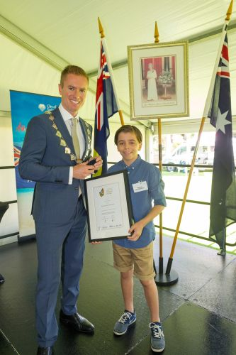 Joondalup Mayor Albert Jacob with Young Community Citizen of the Year winner Vincent Pettinicchio. Pictures: Stewart Allen