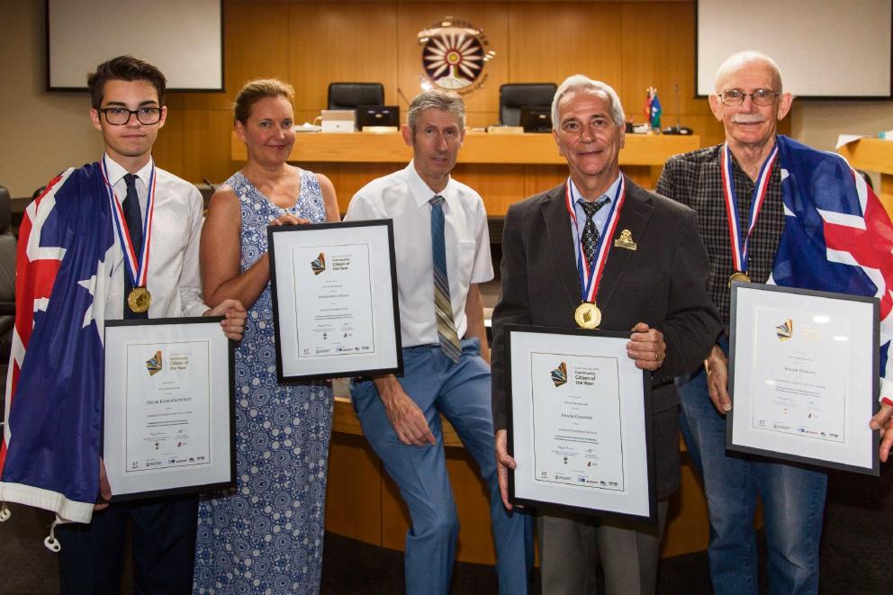 Bayswater Australia Day Award recipients Oscar Kaspi-Crutchett, Rachael Roberts, Warren Haley, Frank Giannini and Roger Tomlins.