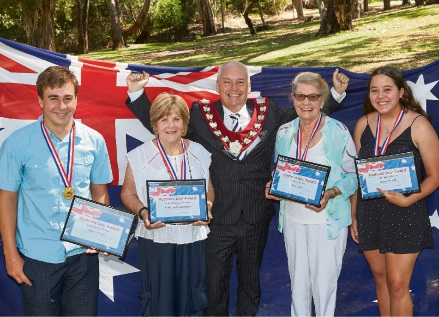 Australia Day award winners with Melville Mayor Russell Aubrey (centre).