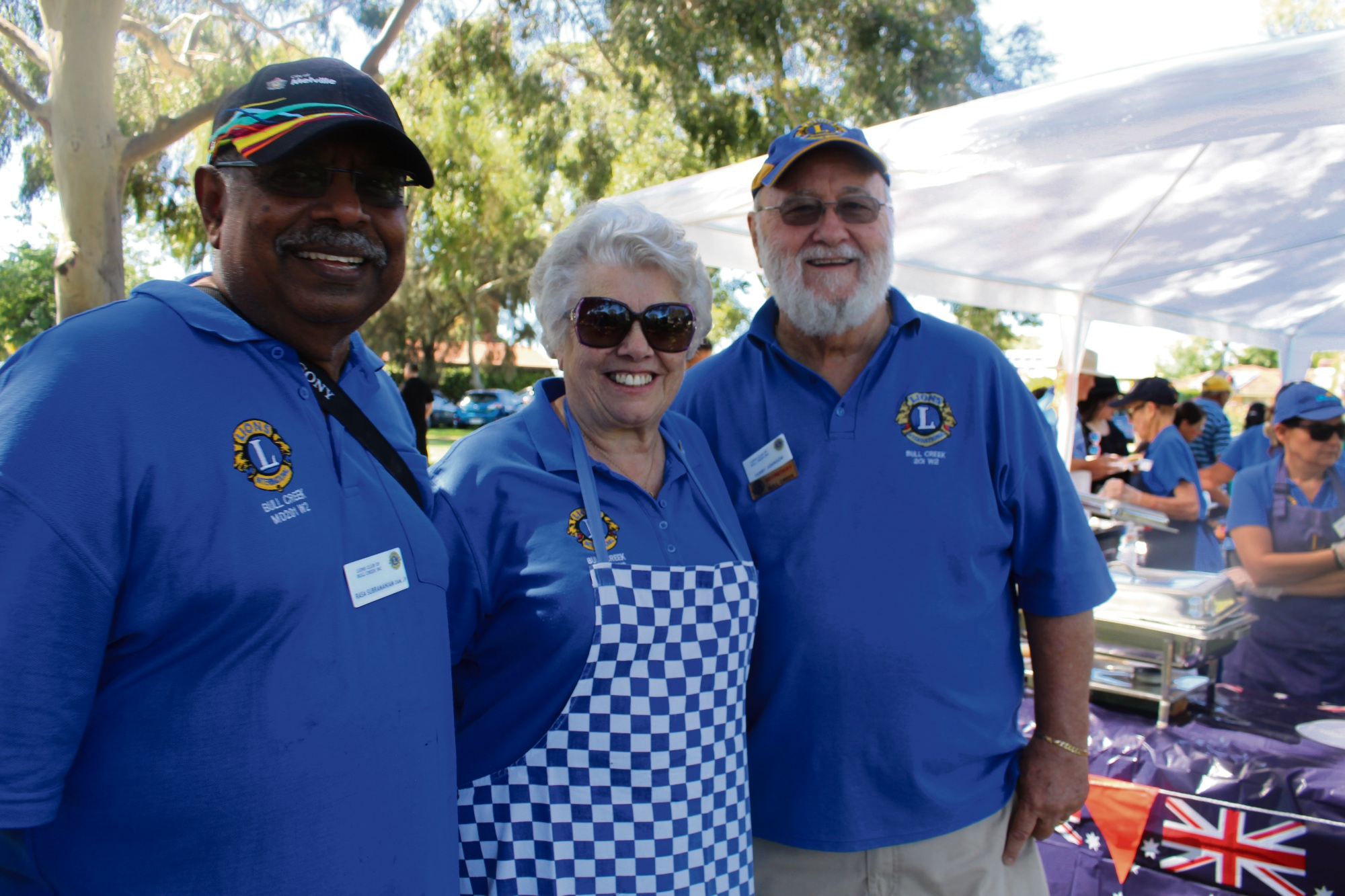 Lions Club of Bull Creek Rasa Subramaniam, president Jill Jonker and Terry Johnson.