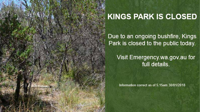 Subiaco: Kings Park closed for the day as fire continues to