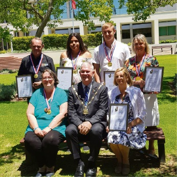 Award winners (back, from left) Norm Dale, Lisa Hume, Joe Waters, Christine Cooper, (front, from left) Felicity Bairstow and Kim Dravnieks with Mayor Logan Howlett (centre). Picture: Juliet Coghlan