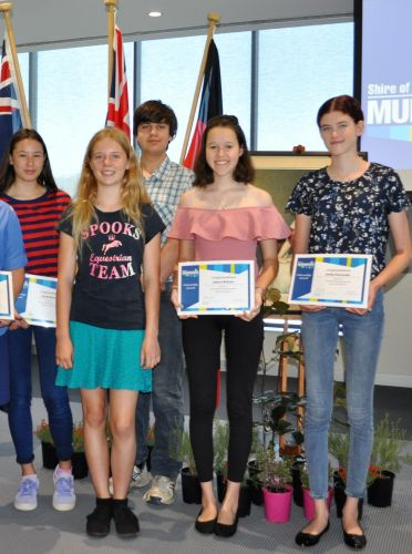 Volunteers are winners: Lily McDonald, Mia Whittaker, Ryan Kertesz, Jessica McEwen and Ashley Raccanello with their citizenship awards.
