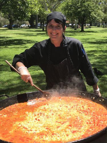 Matilda Bay chef Lara Pegoraro prepares a paella.
