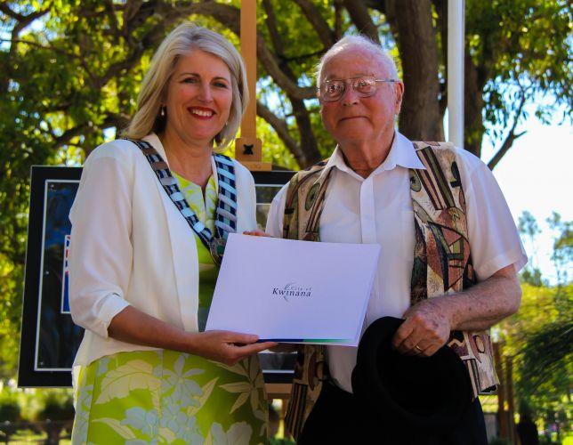 City of Kwinana Mayor Carol Adams with Citizen of the Year Abram Ziegelaar.