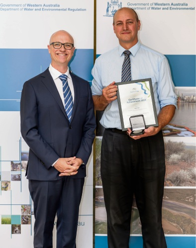 Department of Water and Environmental Regulation director Mike Rowe and Peter Taylor with his Australia Day Achievement Medallion.