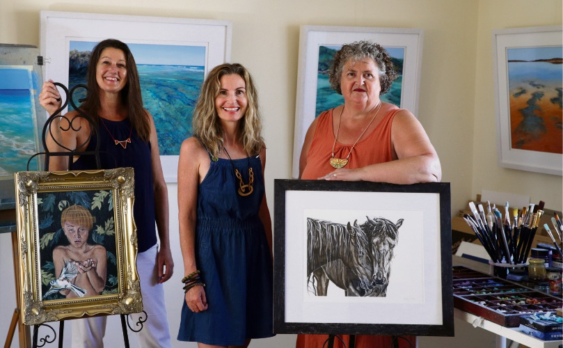 Artists Julie Silvester, Roslyn Nolen and Annie Rawle. Picture: Martin Kennealey  d478576
