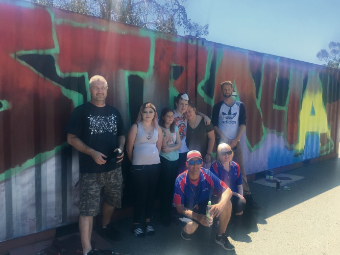 Gosnells PCYC staff and Stepping Stones students with their artist mentors.