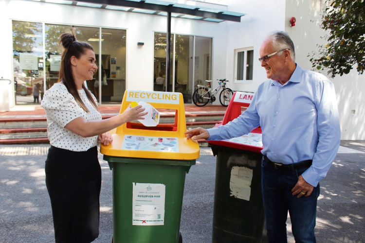 Cottesloe principal environmental health officer Freya Ayliffe and Mayor Phil Angers want their residents to help create a better waste disposal system for WA.