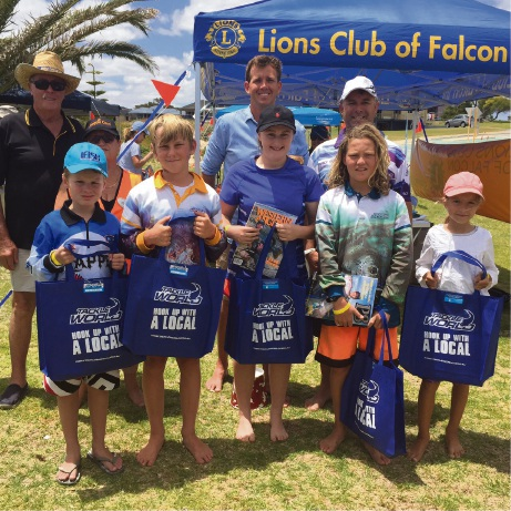 Five of the six competition winners with Falcon Lions Club members Allan Cooper  and Anne Chalmers, Mandurah Mayor Rhys Williams and Tackle World Miami's Ashley Ramm.