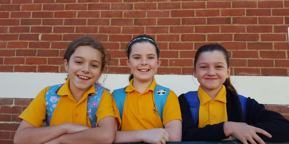 Year 4 students Olivia Highfield, Nadia Rush and Ruby Lloyd.