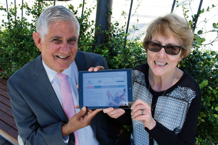 Ken Wyatt and Dot Price with the online health recording system. Picture: Supplied