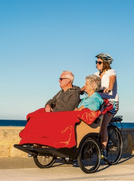Alan and Clodagh Tolley (Sorrento) enjoying a trishaw ride with Alanagh Tolley Godderidge (Sorrento) along the coast.
