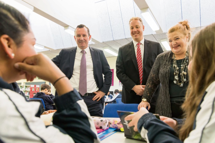 Premier Mark McGowan, Balcatta MLA David Michael and Education and Training Minister Sue Ellery at Balcatta SHS last year.