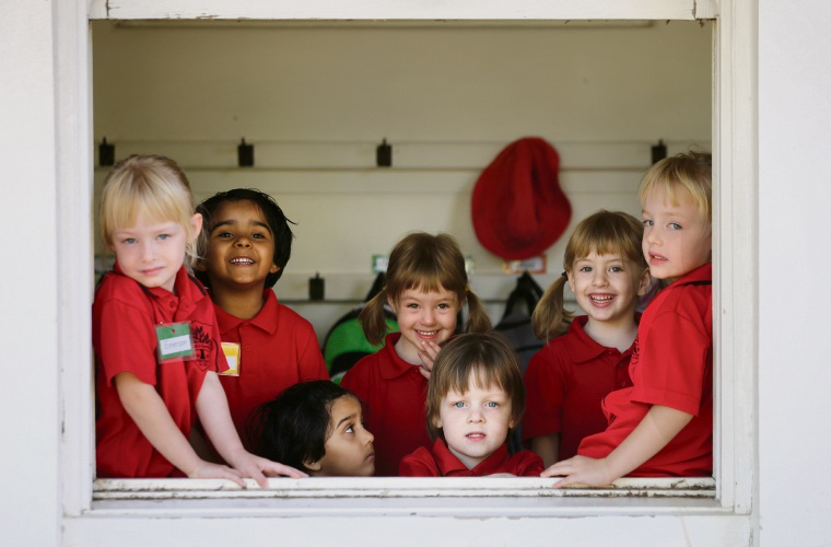 L-R Emerson Westlake (4), Nirva Patel (3), Navya Patel (3), Eve Byrne (3), Jackson Westlake (4), Tessa Byrne (3) and Olivia Westlake (4). Tuart Hill PS has two sets of twins and a set of triplets starting this year. Photo: Andrew Ritchie