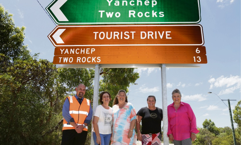 Jerko Ostoic, Sonya Barone, Wanneroo Deputy Mayor Nat Sangalli and Terina Reborse and Jen Donelly from Two Rocks Yanchep Tourist Network. Picture: Martin Kennealey d478611
