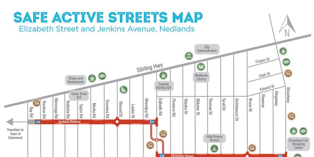 The proposed safe active streets in Nedlands.