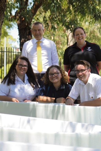 Back: MLA Roger Cook with teacher Lesley Brown, Front: students Olivia Morton, Lucy Mitchell and Brayden Kelly.