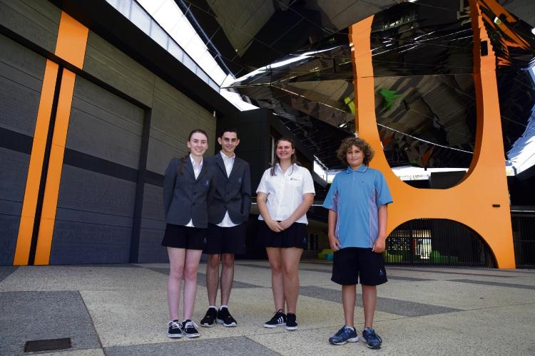 Kiana Ralph (y12), Sam Taylor (y12), Freya Mitson-Clarke (y12) and Jack Bradley (y8). Picture: Martin Kennealey www.communitypix.com.au   d478896