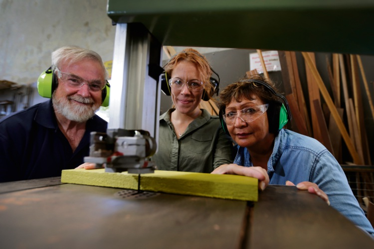 Soon to be in class in the Men's Shed are (l-r) shed supervisor George Greenwell, Haylie Clark and Carol Barrett. Picture: Andrew Ritchie d478847