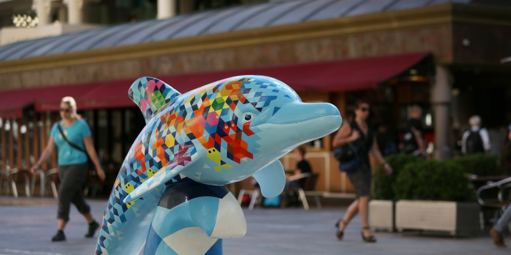 Dolphin sculptures in Forrest Place are raising awareness of mental health. Picture: Andrew Ritchie