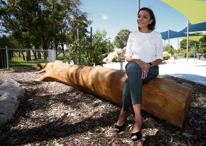 Anne Aly at Sam Trott Playground City of Wanneroo is providing $40,000 and a $20,000 grant from the Stronger Communities Program. Picture: Matt Jelonek d478932