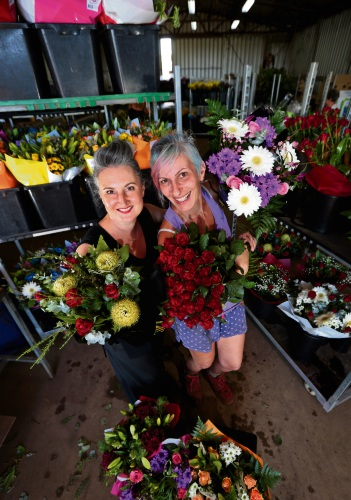 Tamara Harrison and Fenia Chiodi from Swan Valley Flower Farm. Picture: David Baylis www.communitypix.com.au d478039
