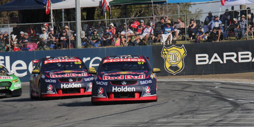 Supercar V8 racing at Barbagallo Raceway. Picture: Stephen Blackberry/Action Plus/ Getty Images