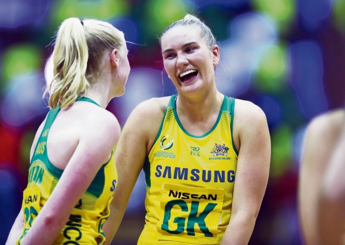 West Coast Fever defender Courtney Bruce has been named in the Australian Diamonds' Commonwealth Games squad. Picture: Naomi Baker