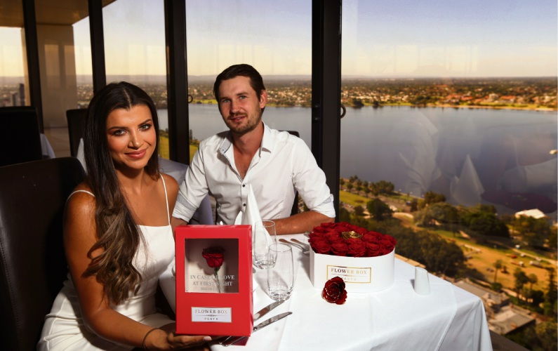 Flower Box Perth owners Laura Aguillon and Bryce Moore. Picture: Martin Kennealey.