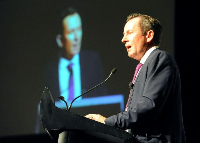 Premier Mark McGowan launches the proposed IWA. Picture: Jon Bassett