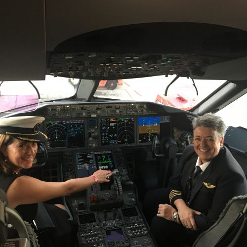 MAPTO chief executive Karen Priest and Captain Lisa Norton on the new Qantas 787 Dreamliner Great Southern Land.
