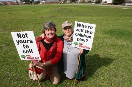City of Swan residents Kaye Slater and Steve Howlett are two of many residents pushing to keep Midland Oval at the heart of the city's planned redevelopment of the site. Picture: Supplied