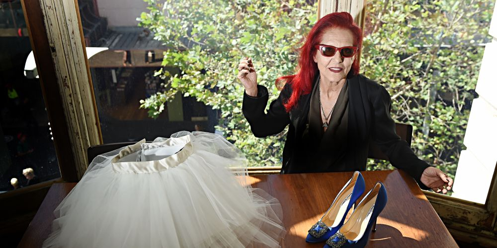 New York City-based fashion designer Patricia Field with Carrie Bradshaw's famous tutu and Manolo Blahnik shoes from Sex and the City. Picture: Marcus Whisson