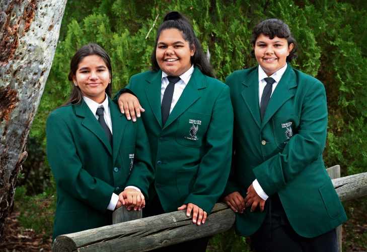 : Year 10 student Shontae Coyne (15) of Bayswater, year 10 student Kawlija-Merle Brahim (14) of Midland and year 9 student Bertha Moore (14) of Swan View. Swan View Senior High School students excel. Picture: David Baylis d479278