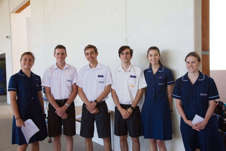 Student leaders (L-R): Keisha Derry, Brendan Keisey, Devin Carter, Joel Potier, Kayla Alger, Emily Keisey inside the new learning space at Mundaring Christian College. Picture: Supplied
