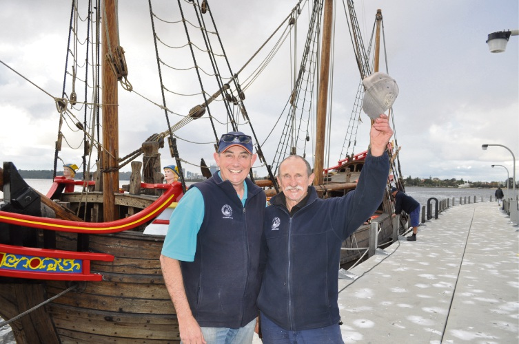 Duyfken 1606 Replica Foundation chief executive Peter Bowman and 18-year-volunteer Frank Talen.