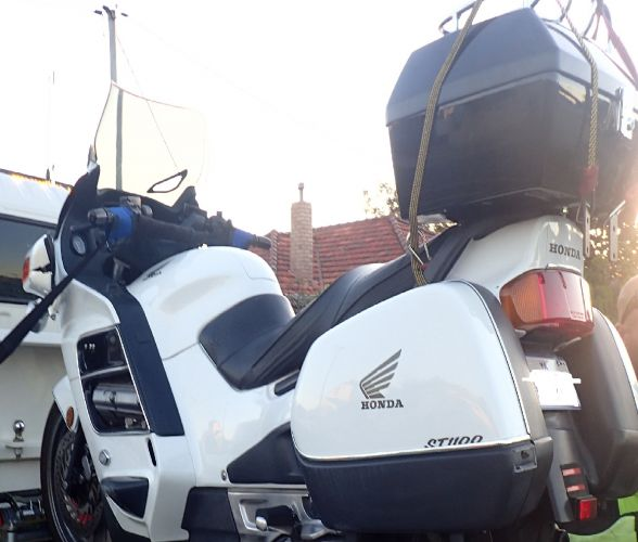 The motorcycle involved in the crash on Flinders Street, Yokine.