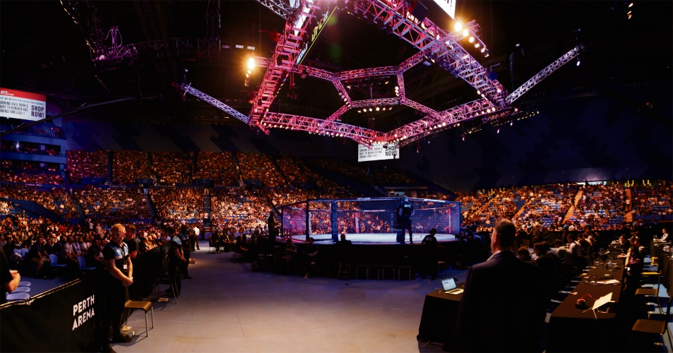 More than 12,000 people turned up to watch Perth host its first UFC pay-per-view fight. Picture: Andrew Ritchie