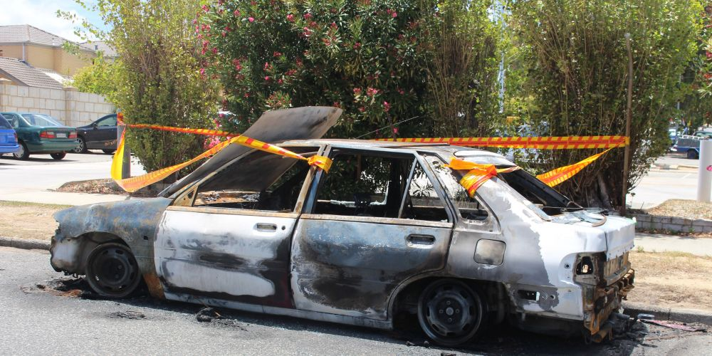 A resident of Bicton found this burned out car on her street recently.