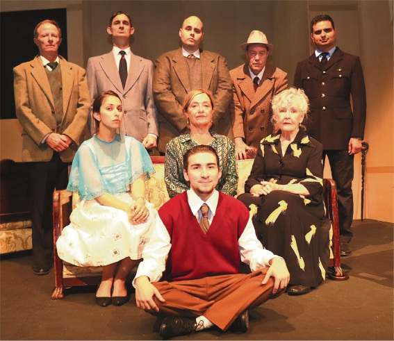 Agatha Christie's The Unexpected Guest with Kit Leake (left), Jeremy Smith, Ryan Perrin, Wayne Cant, Praveen Hooda, Jackie Oates, Sian Burgess, Davilia O'Connor and Charlie Young.