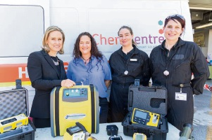 Women's Interests Minister Simone McGurk with ChemCentre Emergency Response Team Leader Angela Downey and team members Korin Thompson and Amy Benjamin.
