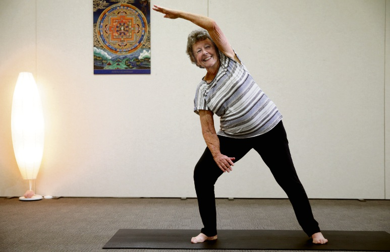 89-year-old Merriwa yogi Sylvia Sulley gets in a stretch at Greenwood Yoga Academy. Picture: Martin Kennealey d479290