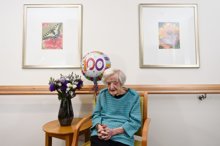 Braemar Presbyterian Care (Cooinda) Resident Gladys Canning is turning 100 on Sunday. Picture: Jon Hewson www.communitypix.com.au d479377