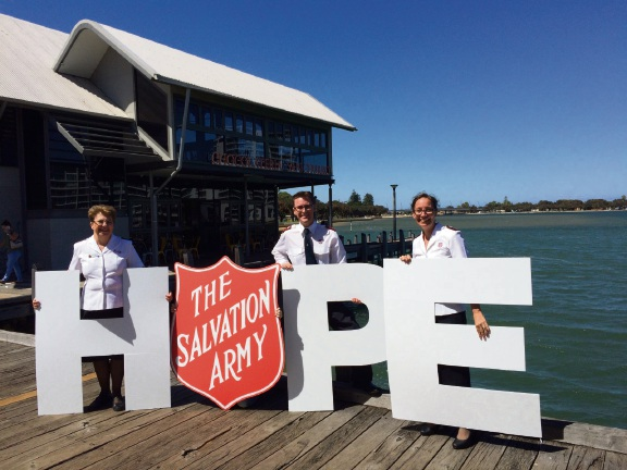 Captains Scott and Leah Ellery, along with Captain Erica Cossington, who are all excited about continuing to bring hope to the Mandurah community. Picture: Ash Greenwood/Salvation Army