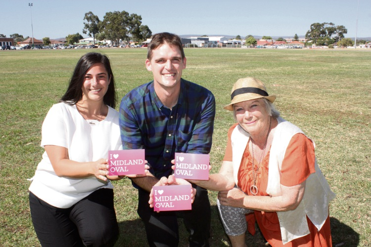 Tim Clifford with residents who have signed postcards of love to councillors calling for the Midland Oval redevelopment to keep the historic oval. Picture: Postcards of Love