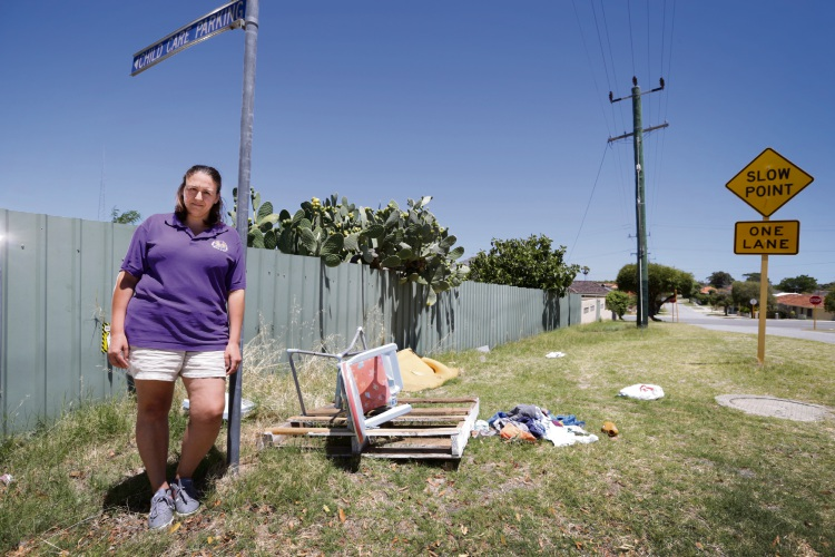 Margarita Fazzari (Tuart Hill Baby and Child Care Centre) works at the centre and says rubbish continuously gets dumped outside the centre on the verge. Picture: Andrew Ritchie d478851