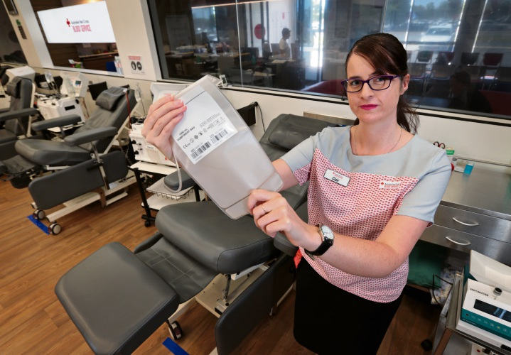 Enrolled nurse Clair Haycock with empty beds and empty plasma bags at the Australian Red Cross Blood Service centre in Midland. Picture: David Baylis d479486