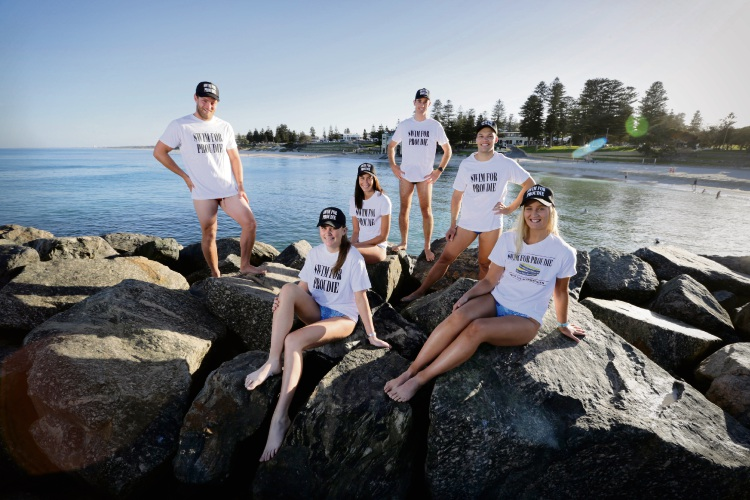 Team Proudlove members (l-r)  Harry Garland, Floreat's Adelaide Garland (23), Sophie Stewart (27) from Claremont, Scarborough's Mitch Catlin (26), George Cunningham (24) from Subiaco and Alfred Cove's Tessa Maroni. Picture: Andrew Ritchie.