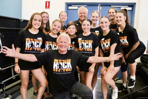 Normie Rowe and Johnny Young with Perth Youth Theatre performers. Picture: Amanda Humphreys Photography